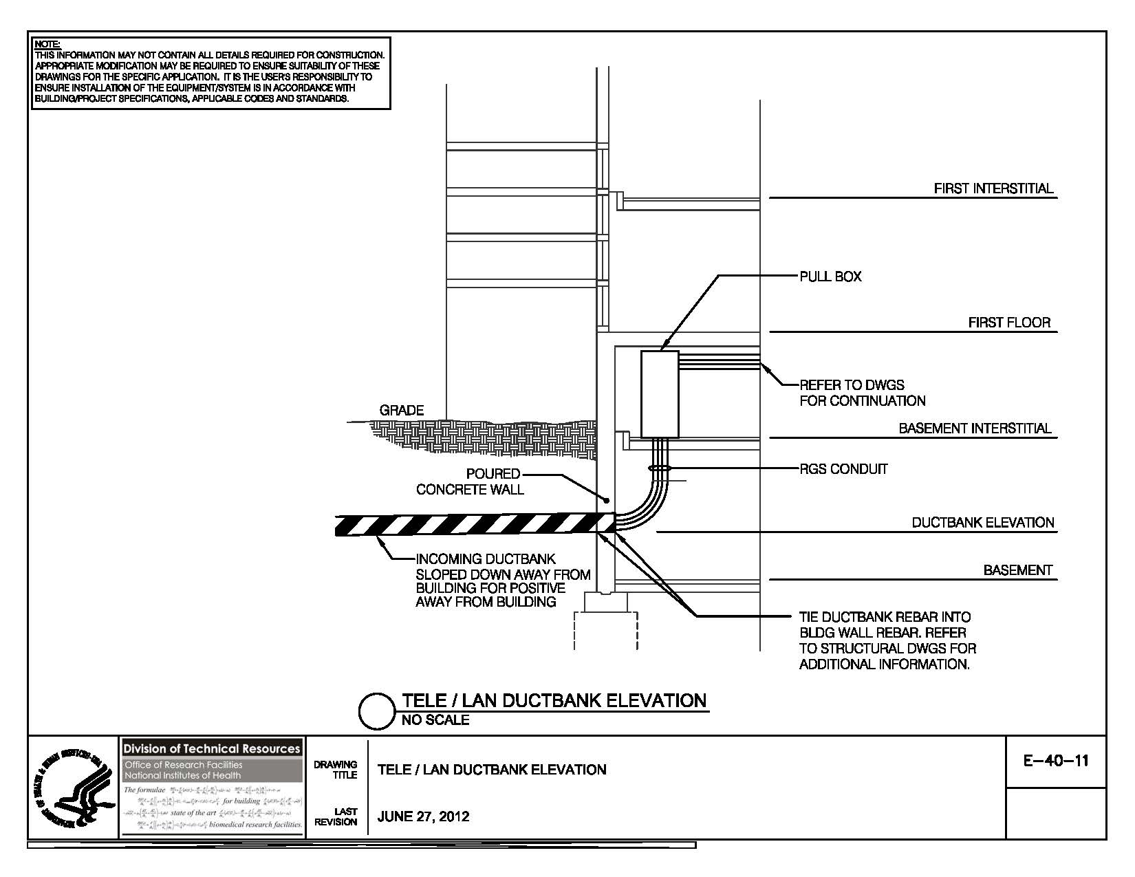 Nih Standard Cad Details Commercial Building Electrical Wiring Diagrams Thumbnail Of E 40 11 Tele Lan Ductbank Elevation