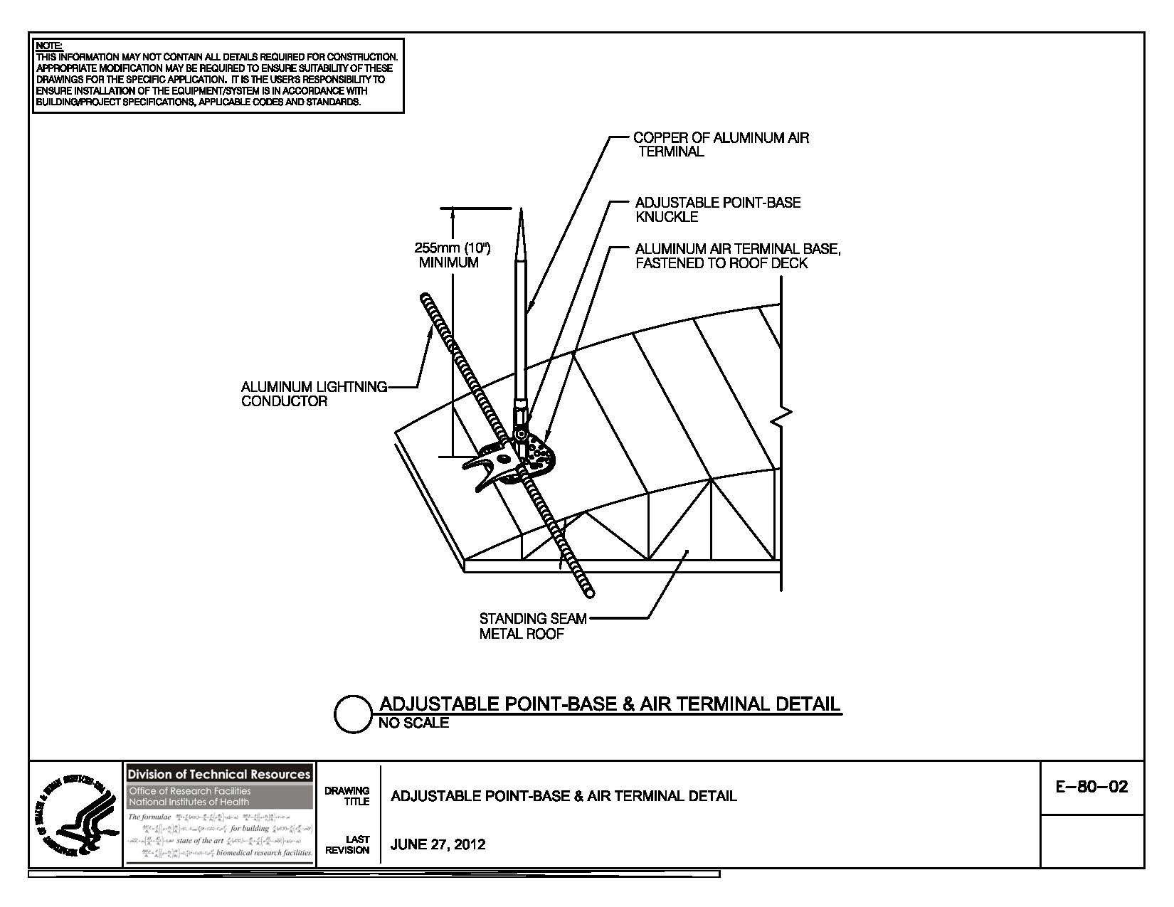 Nih standard cad details thumbnail of e 80 02 adjustable point base air terminal sciox Images