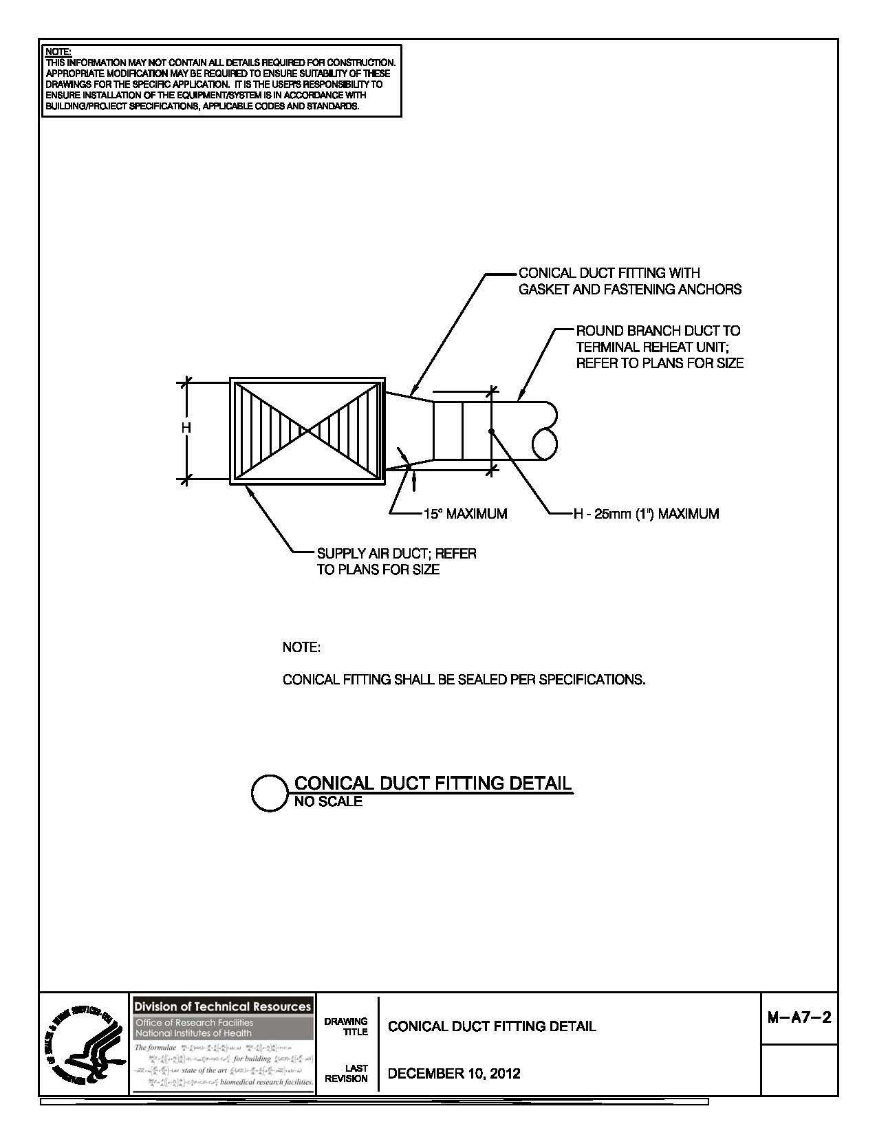 Nih standard cad details thumbnail of m a7 2 conical duct fitting buycottarizona Image collections