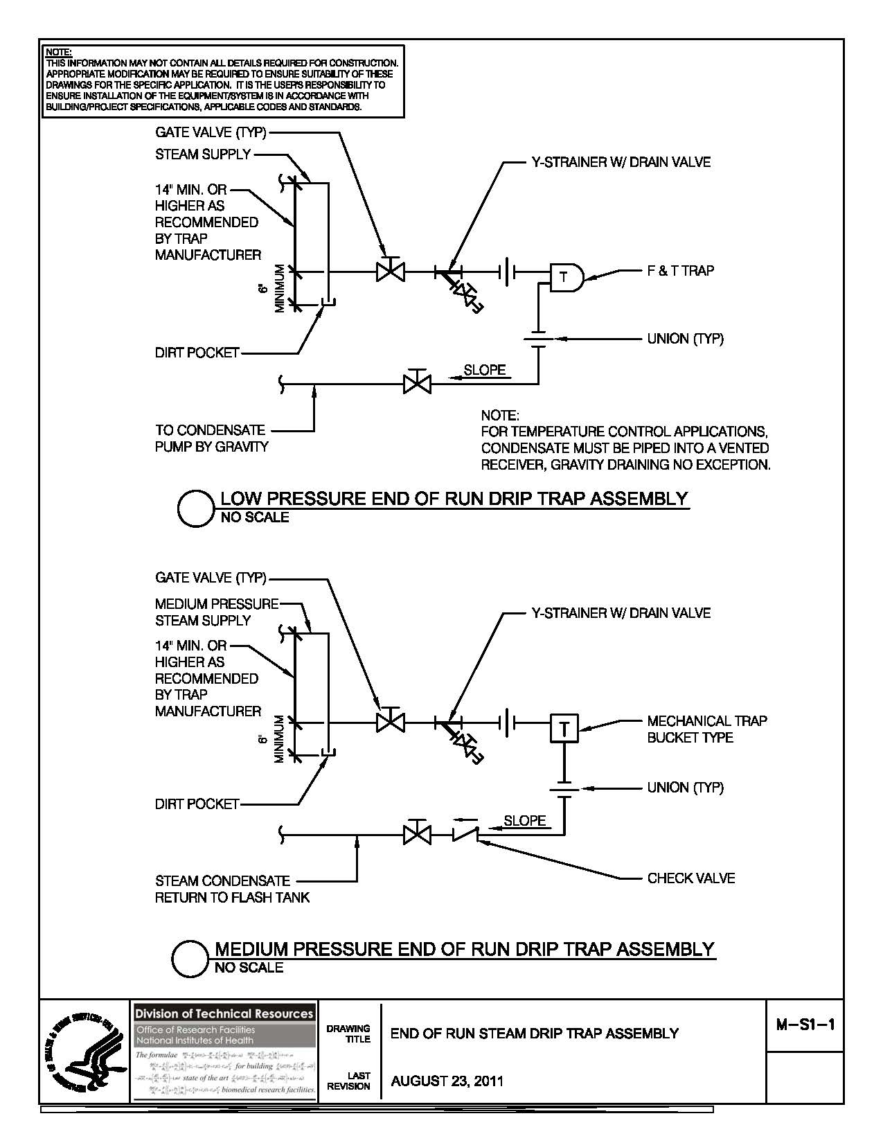 Nih Standard Cad Details End Of Run Electrical Wiring Diagrams Thumbnail M S1 1 Steam Drip Trap Assembly