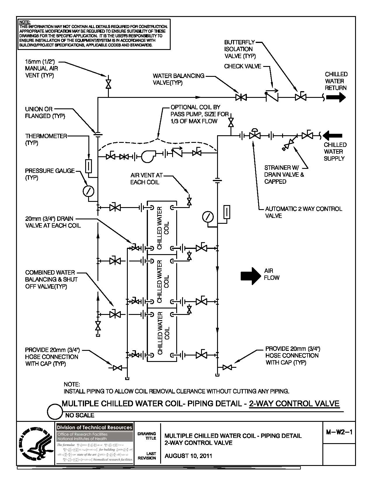 Nih standard cad details thumbnail of m w2 1multiple chilled water coil piping detail buycottarizona Image collections